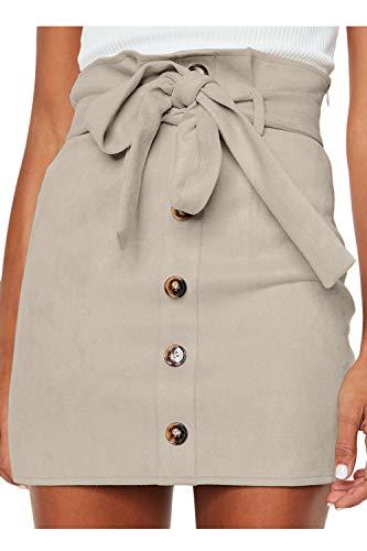 Meyeeka Bodycon Suede Skirt for Women Plain Solid Button Front Leather High Waist Mini Skirt S Beige