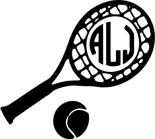 Tennis Racket initial Decal ( please leave your initials in the order that you want them in thanks ) LET ME KNOW WHAT COLOR THAT YOU WANT ALSO stickers can - Glasses Computor