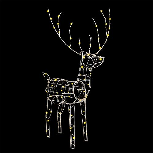 "Padoo 48"" White Standing Deer with 250 Warm White LED Lights for Christmas Outdoor Decor"