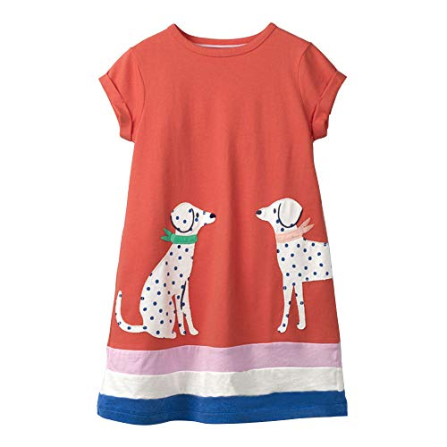 WRHJZW Toddler Girls Cotton Dress Short Sleeves Casual Summer Cartoon Spotty Dog Printed Shirt