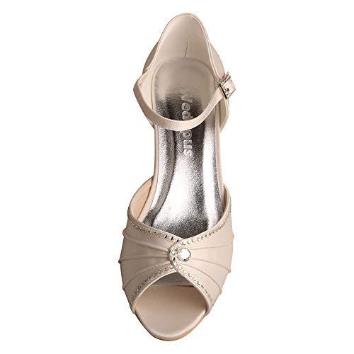 Puntera marfil MW033B Mujer La Fiesta Heel Sandalias Boda Mid Janes Mary Rhinestones Wedopus de Abierta T5dqFTx6