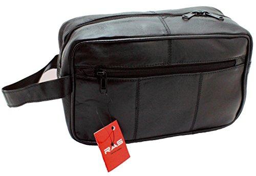 3510 Borsa da viaggio da uomo in vera pelle, utile come astuccio da bagno e borsa da palestra, colore: nero