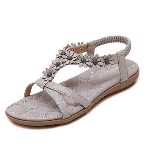 Ruiren Frauen Bohemian Flower Sandalen, Sommer Flache Schuhe Für Damen Grau