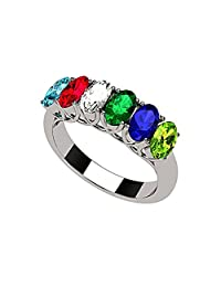 NANA Oval Cut Lucita Style 1 to 7 Simulated Birthstones - Mother's Birthstone Ring in Sterling Silver or Solid 10k Gold