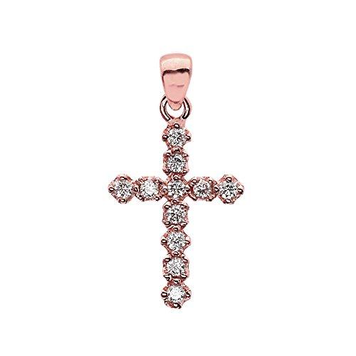 Elegant Diamond Cross Pendant - Elegant High Polish Reversible 14k Rose Gold Diamond Cross Dainty Charm Pendant