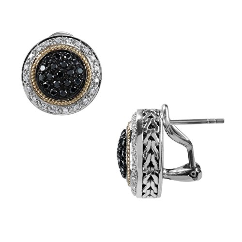 Aura 925 Sterling Silver Black Diamond with Gold Rope Stu...