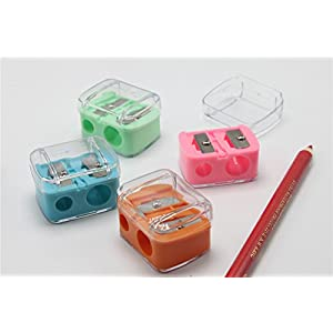 Pack of 12 Bulk Dual Holes Cosmetic Pencil Sharpeners with Cover, Manual Large Eyebrow Pencil Cutter