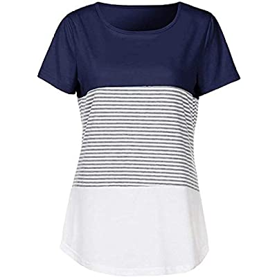 Womens Summer Color Block Striped Tee Shirts Casual Loose Short Sleeve Blouses Tops for Juniors: Clothing