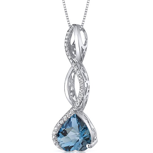 3 Heart Dangling - Dangling 3.00 carats Heart shape Sterling Silver Rhodium Finish London Blue Topaz Pendant