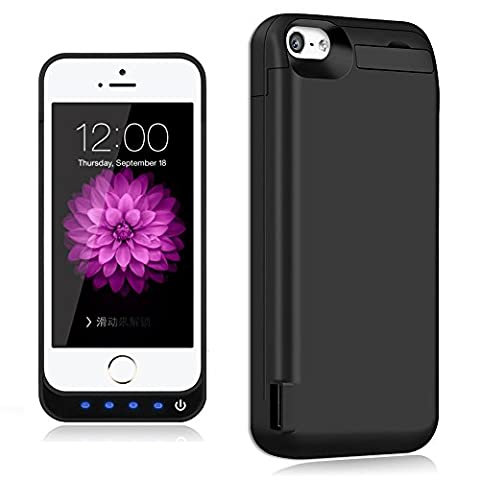 iPhone 5 / 5S / 5C / SE Battery Case,TQTHL Update [4800mAh] External Battery Backup Protective Charger Case for iPhone 5 / 5S / 5C / SE (Built-in USB Output Power Bank) LED Indicator Light - (A Charging Iphone 5 Case)