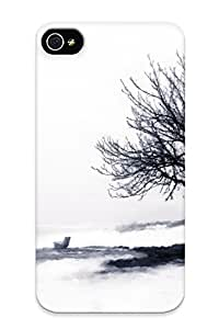 Lauriestroup Durable Defender Case For Iphone 4/4s Tpu Cover(mood Emotion Sad Sorrow Reflect Time Black White Art Artistic Landscape Trees Grass Bench Surreal Reflection Dream Alone ) Best Gift Choice