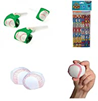 Baseball Theme Party Favor Set / 12 Pencils/12 Mini Foam Baseballs/12 Baseball Blowouts