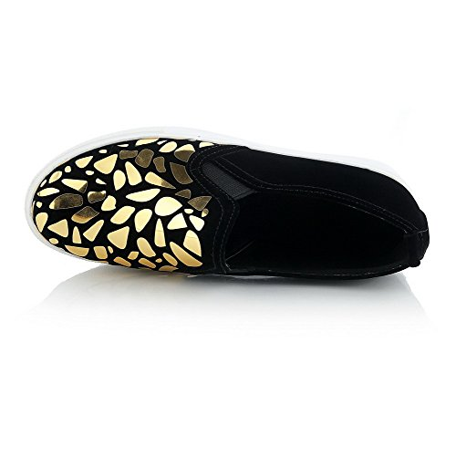 VogueZone009 Women's Low-Heels Assorted Color Pull-On Round Closed Toe Pumps-Shoes Gold 0LBP4