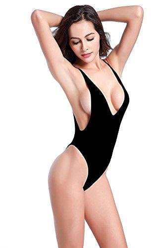 SHEKINI Mujeres Tanga Bañador Trajes de una pieza Brasileño Bikini Traje de baño Negro
