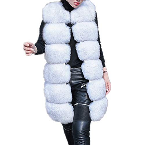 Lisa Colly Women's Faux Fox Fur Vest Long Fur Jacket Warm Faux Fur Coat Outwear (White, S)