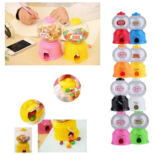 Plastic Candy Dispenser - Cute Sweets Mini Candy Machine Bubble Gumball Dispenser Coin Bank Kids Toy Multicolor Random - Gumballs Rack Globe Maker Money Comercial Coin Stand Mechanism Capsules B for $<!--$12.99-->