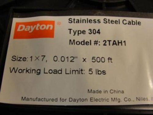 Dayton 2TAH1 Cable, 1 x 7, Cable Size 0.012 in, Length 500 Ft