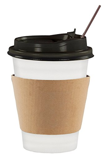 JUMBO VALUE SET of 130 Coffee Disposable Paper Hot Cups with Travel Leak Proof Lids, Heat Resistant Sleeves and Stirrers -12OZ WHITE PREMIUM STARBUCKS quality THE BEST VALUE on Amazon by Sugarman Creations (Image #7)