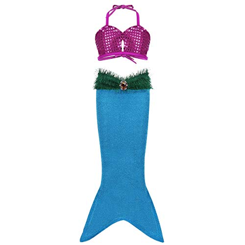 (TiaoBug Kids Girls Sequins Mermaid Tails Halloween Cosplay Party Costume Child Bikini Swimming Long Skirt Lake Blue Halter Strappy Tops with Mermaid Tail 4)