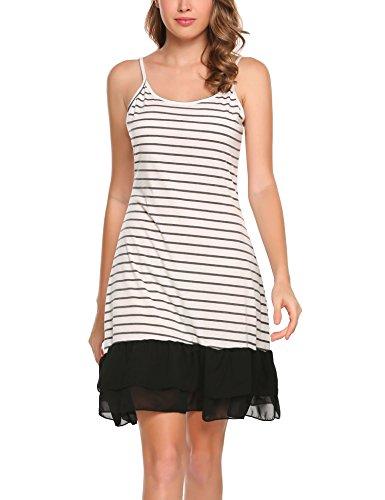Zeagoo Women's Summer Adjustable Spaghetti Strap Chiffon Ruffle Camisole Dress (White-2, XX-Large)