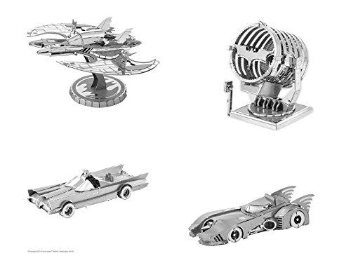 Fascinations Metal Earth 3D Laser Cut Model Kits SET of 4 BATMAN 1989 + 1966 Batmobiles + Batwing + Bat-Signal