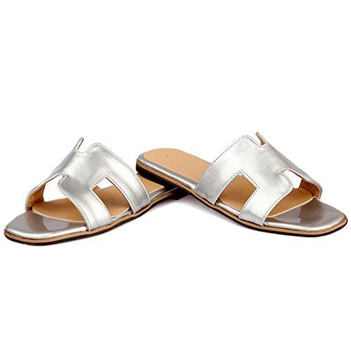 TAOFFEN Mujer Comodo Punta Abierta Sandalias Plano Slide Verano Zapatos Plata