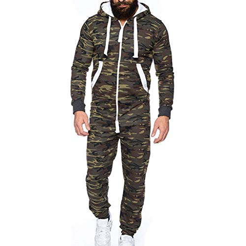 Playsuit One (WensLTD Womens Mens Unisex Hooded Onesie Jumpsuit Christmas Romper Overall Zip up Pajama Playsuit (XXXL, Camouflage-1))