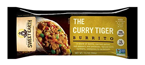 Sweet Earth Vegan Curry Tiger Burrito 7 ounce (Pack of 12)