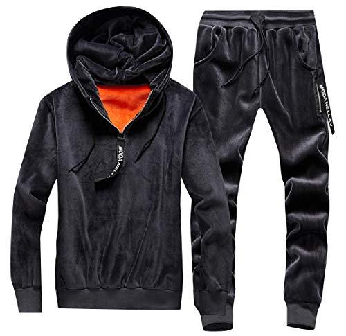 Winwinus Men Thermal Velour Velvet Tracksuit Top Sweatpants 2-Piece Dark Grey - Sweatpants Thermal 2 Piece