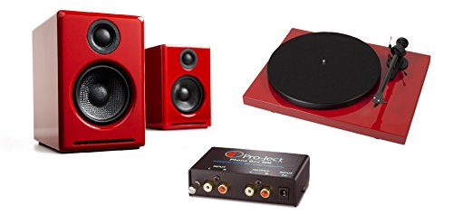 Pro-Ject Debut Carbon DC Special Edition Turntable with Ortofon OM10 Cartridge, Phono Box MM and Audioengine A2+ Limited Edition Speakers (Red)