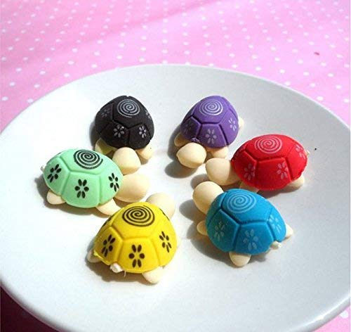 2Pcs-Creative Children Eraser Cute Cartoon Style Erasers Tortoise-Random Color Premium Quality