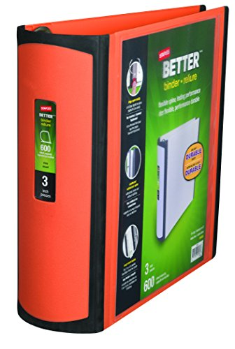 Staples 3 Inch BetterView Binder with D-Rings (Orange)