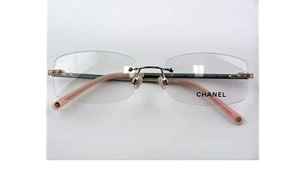 93b700de02c Amazon.com  Authentic Chanel 2073 c.251 Silver Pink Rimless Eyeglasses   Clothing