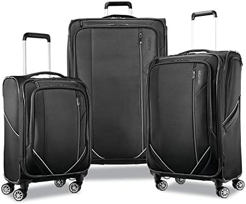 American Tourister Zoom Turbo Softside Expandable Spinner Wheel Luggage, Black, Carry-On 20-Inch