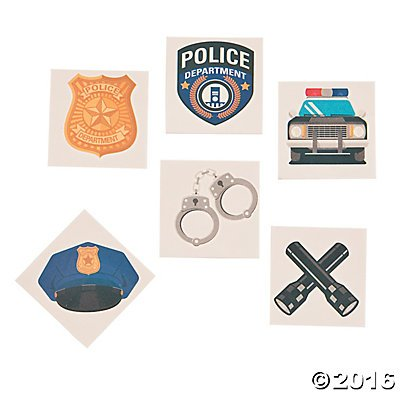 Police Party Tattoos - 72 ct (Police Theme)