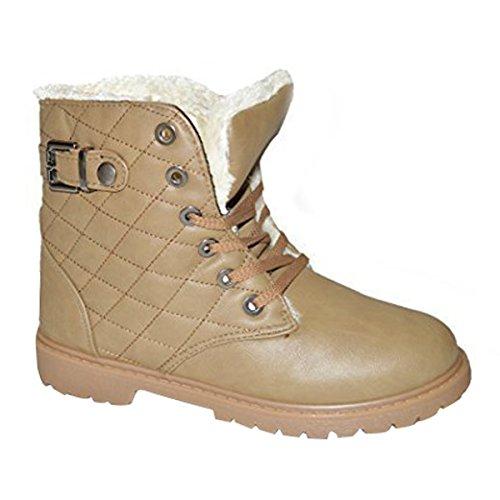 Mujer Forro De Piel Cálido De Invierno Zapatillas Tobillo Botas Zapatos Varios Números REINO UNIDO 3-8 - Botín Caqui, 38 EU