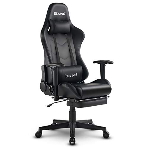 DESINO Gaming Chair Racing Style High Back Computer Game Chair Swivel Ergonomic Executive Office Leather Chair Video Game Desk Chair with Footrest for Adults (Black)