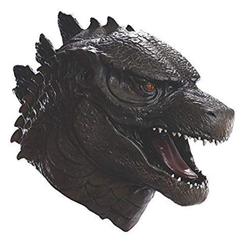 Animal Head Godzilla Latex Mask Halloween Scary Monster Movie Cosplay Costume Dragon Latex Masks Black]()