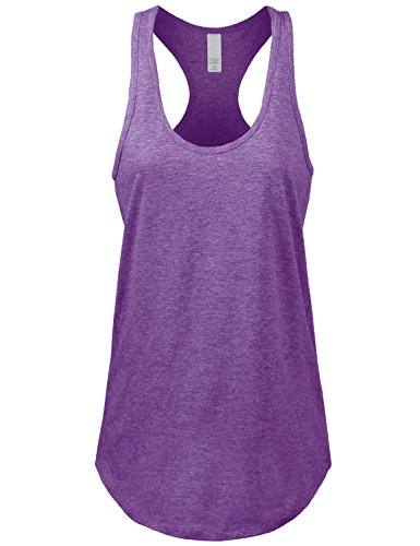 Women's Basic Jersey Racer-Back Tank Top With Scallop Bottom