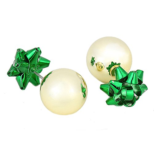 Double Sided Christmas Ornament Ball & Gift Ribbon Stud Earrings 1