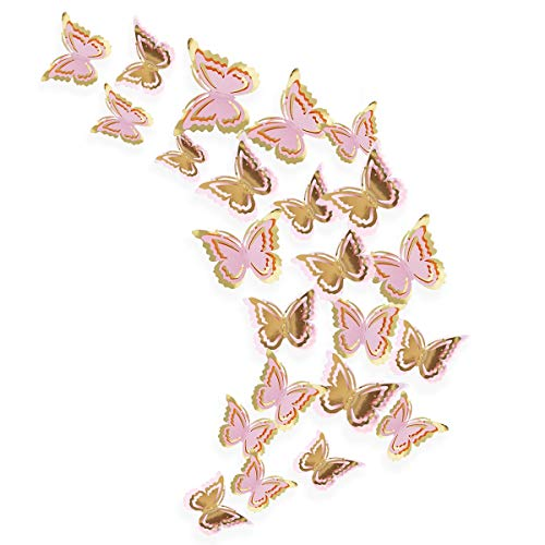 pinkblume Gold and Pink 3D Butterfly Decorations,Man-Made/Removable/Butterfly Wall Stickers/Decals/Mural for Livingroom,Kids/Girls Bedroom,Nursery,Party Decor.(27 Set). ()