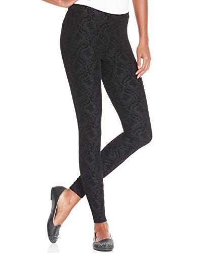 Hue Women's Jersey Flocked Brocade Leggings, Black, Medium