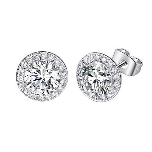 DwearBeauty White Gold Plated Cubic Zirconia Stud Earrings