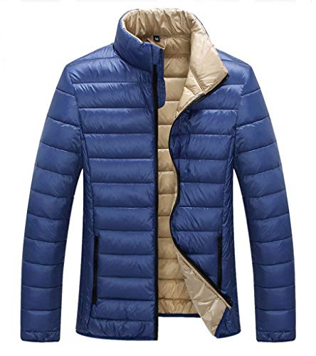 Reversible Nylon Sweater Jacket - ZSHOW Men's Lightweight Stand Collar Packable Down Jacket(Blue,X-Large)