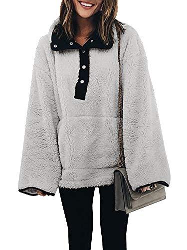 (YOMISOY Womens Sherpa Pullovers Long Sleeve Fleece 1/4 Zip Casual Sweatshirt Tops)
