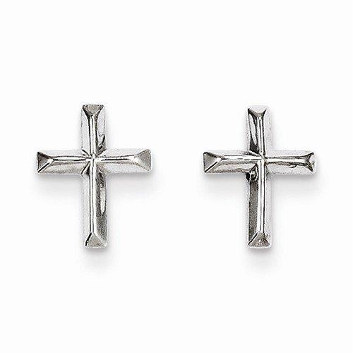 Crucifix Post (Solid 14k White Gold Cross Crucifix Post Studs Earrings (8mm x 6mm))