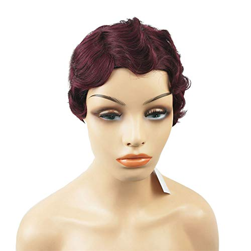 Aimole Short Finger Waves Hairstyles 100% Human Hair for Women African American Black Flapper Hairstyles Wig Wine Red #99J -
