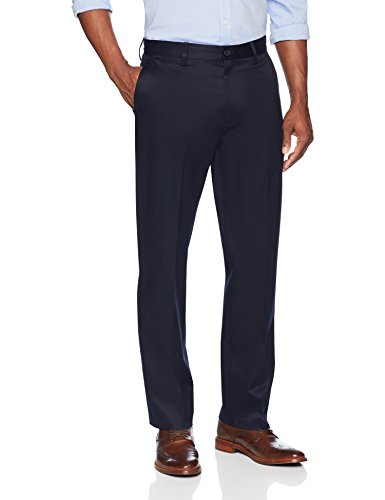 BUTTONED DOWN Men's Relaxed Fit Flat Front Stretch Non-Iron Dress Chino Pant, Navy, 38W x 29L