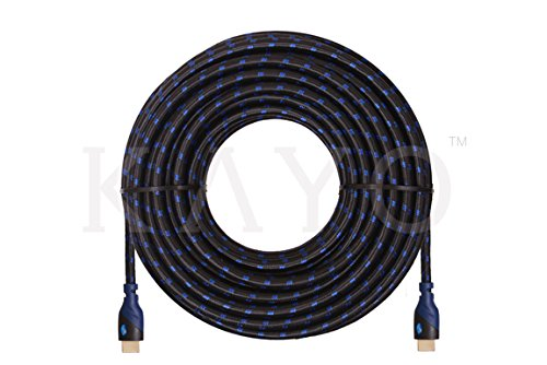 HDMI Cable 50FT,KAYO High Speed HDMI Cable 4K Full HD(50FT/15M) HDMI1.4 Supports 4K,Ultra HD,3D,2160p,1080p,Ethernet,ARC,Blu-Ray,PS3,PS4,Xbox 360,4K Super HD Streaming+Free Cable Tie,Blue Black Sleeve