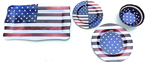 Nicole Home Collection Patriotic Melamine Dinnerware - Service for 4